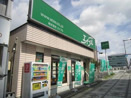 東岡崎駅方面から見ても緑の看板が目印です。