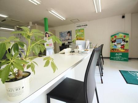 白と緑を基調とした明るい店内です。